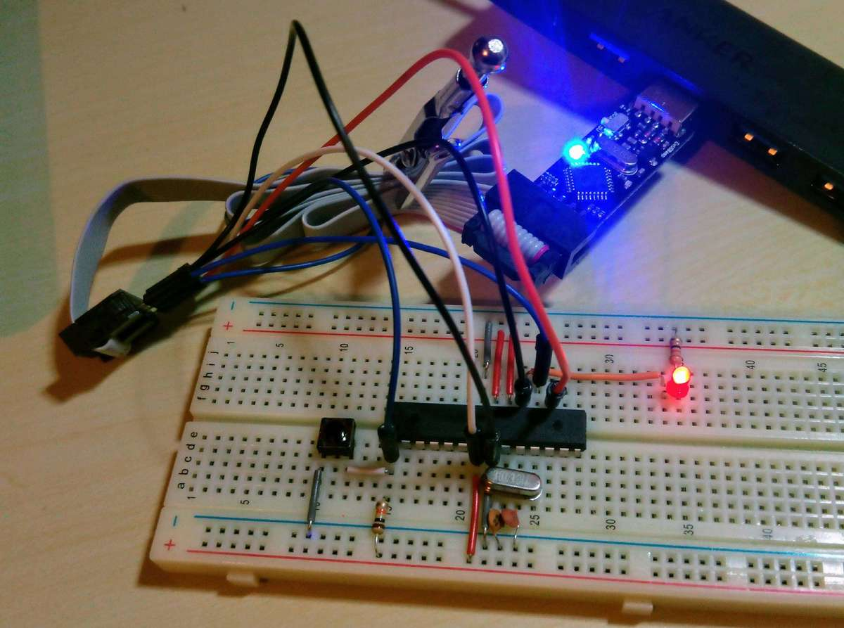 MCU and LED on a breadboard